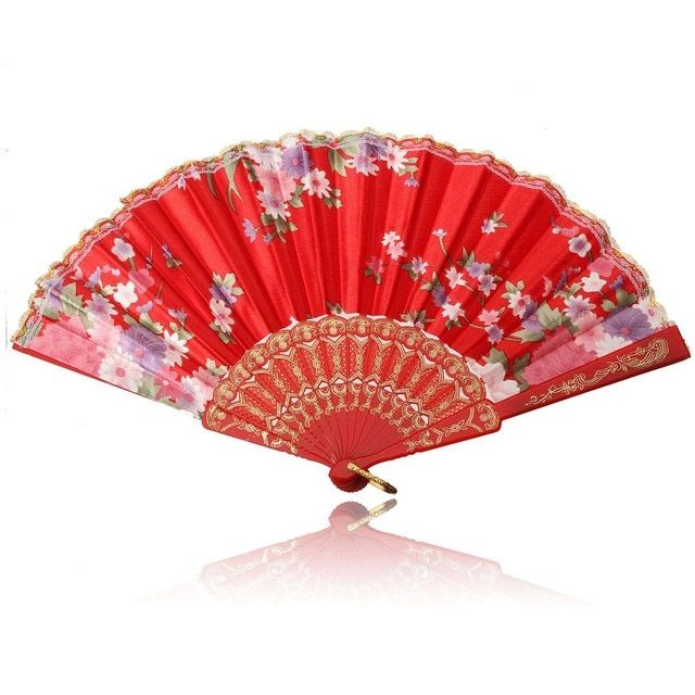 Vintage Folding Hand Held Dance Fan Chinese Flower Cosplay Bamboo Fans