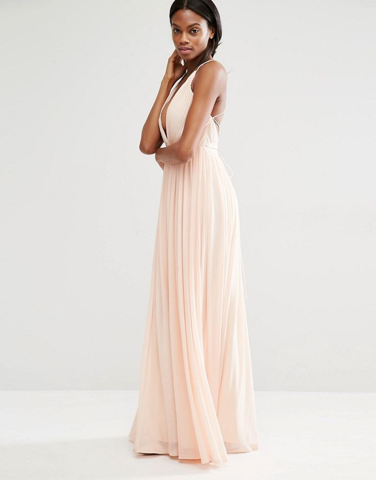 Missguided+Pleated+Plunge+Maxi+Dress