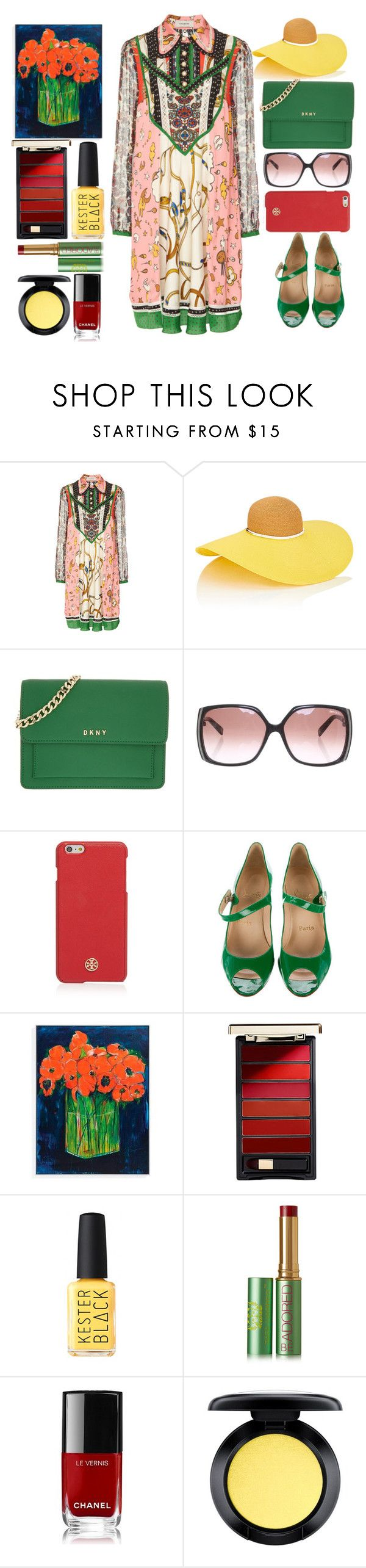 """Gucci dress"" by juliehalloran ❤ liked on Polyvore featuring Eugenia Kim, DKNY, Jimmy Choo, Tory Burch, Christian Louboutin, Grandin Road, L'Oréal Paris, Kester Black, Tata Harper and Chanel"