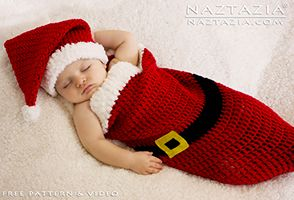 DIY Free Pattern and YouTube Video Tutorial Crochet Christmas Holiday Baby Santa Hat and Cocoon Bunting for Christmas Babies by Donna Wolfe from Naztazia