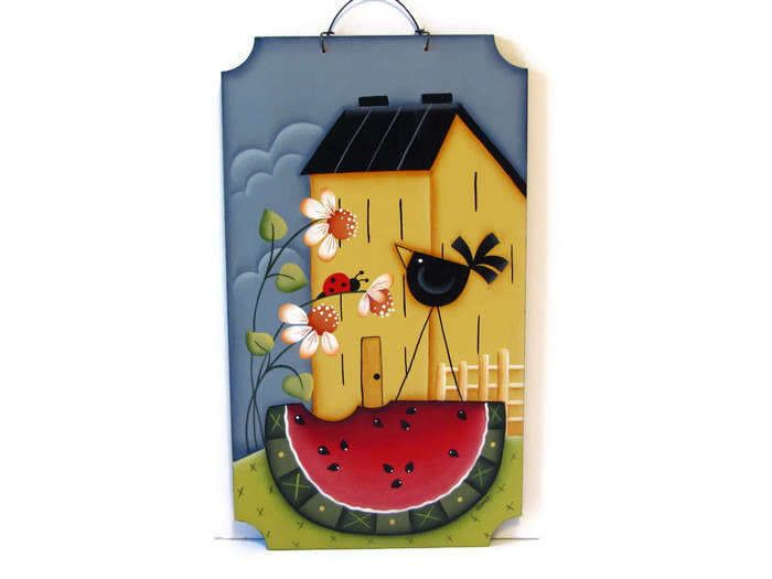 Saltbox House Sign with Daisies, Watermelon, Crow,  Handpainted Wood,  Hand Painted Prim Home Decor, Wall Art, Tole Decorative Painting by ToleTreasures on Etsy