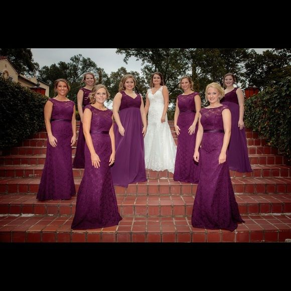 Mori Lee bridesmaid/evening formal wear gown This eggplant colored dress is one of the most beautiful dresses I've worn. The color is very elegant and the fit is extremely flattering. The lace overlay gives it the perfect southern touch. Worn once and in great condition! Mori Lee Dresses Backless