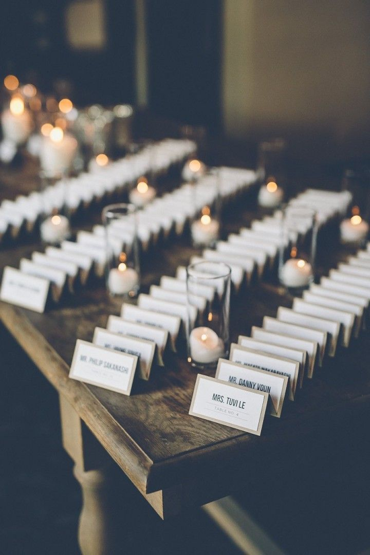 wedding escort card idea; photo: Gina and Ryan