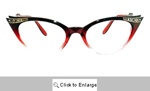 Fete Jeweled Cat Eye Glasses - 539G Red