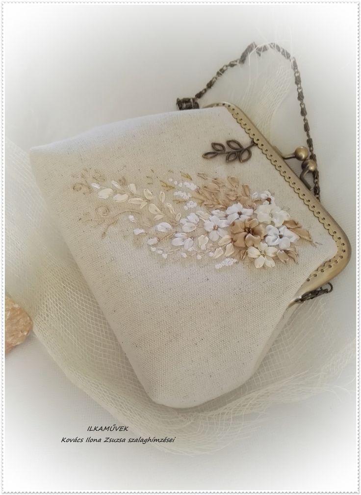 Menyasszonyi táska beige szalaghímzés