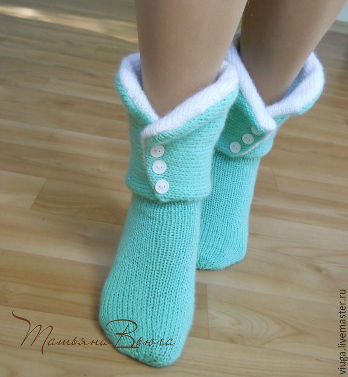 Купить Принцесса и Дракон. Носки вязаные, шерстяные носки, домашняя обувь. - зеленый, носки вязаные