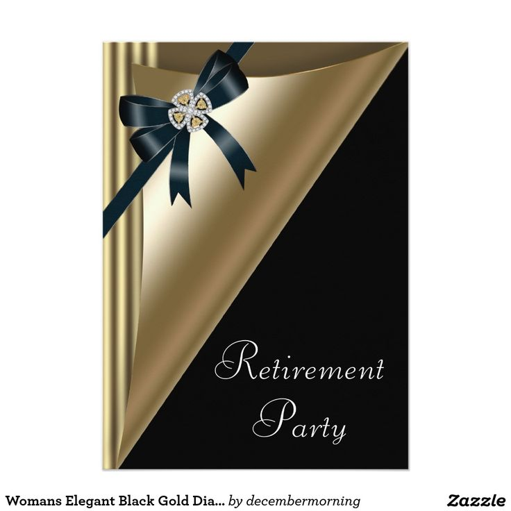 34 best retirement party invitations ideas images on pinterest womans elegant black gold diamond retirement party 5x7 paper invitation card stopboris Images