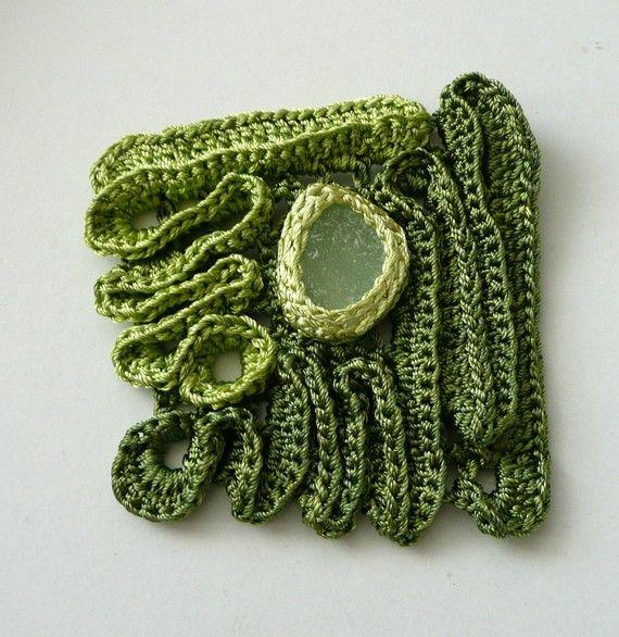 crochet brooch with sea glass