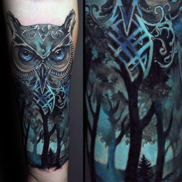 Owl Blue Ink Forest Tattoos For Men On Inner Forearm