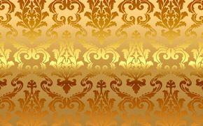 Обои golden, pattern, vintage, gradient, vector, background, золото