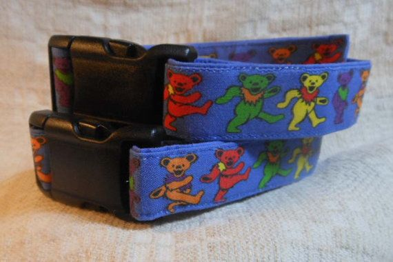 Grateful Dead Dog Collar / Dancing Bears /  Deadhead Dog / Grateful Dead Gift / Blue Dog Collar / Cool Dog Collar / Unique Dog Collar