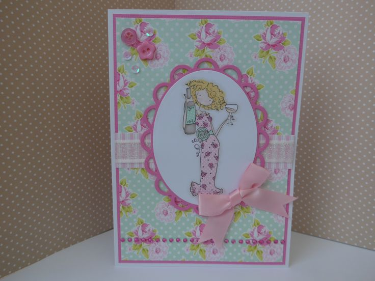 Card made using Stamping Bella Uptown Girls Opal the Optimist stamp.