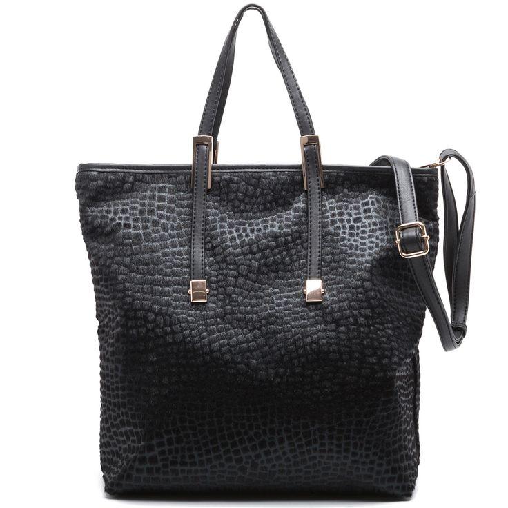 Black ponysking shopper bag