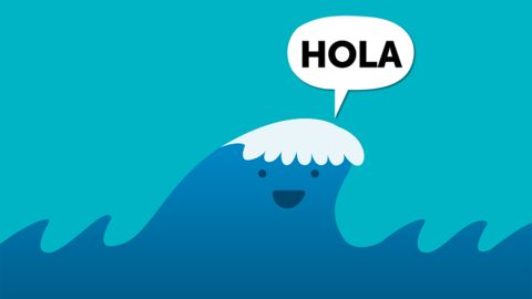 Spanish jokes for kids, chistes para niños. Visual joke about Spanish words: hola, ola.
