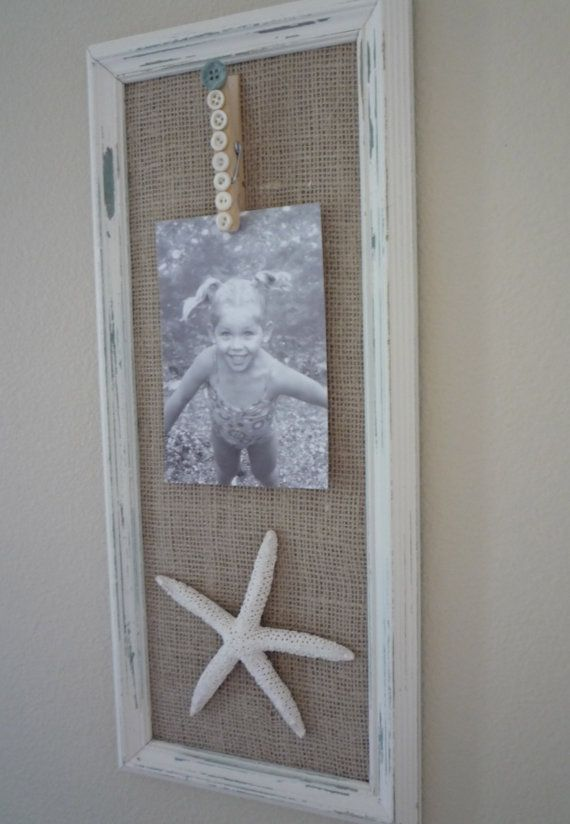Upcycled shabby chic coastal cottage picture frame photo holder with burlap, buttons, clothes pin and seashells