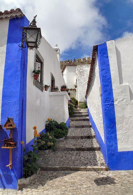 Bluelines Stone paved stairway street at Obidos, Oeste, Estremadura, District of Leiria, Centro Region Portugal