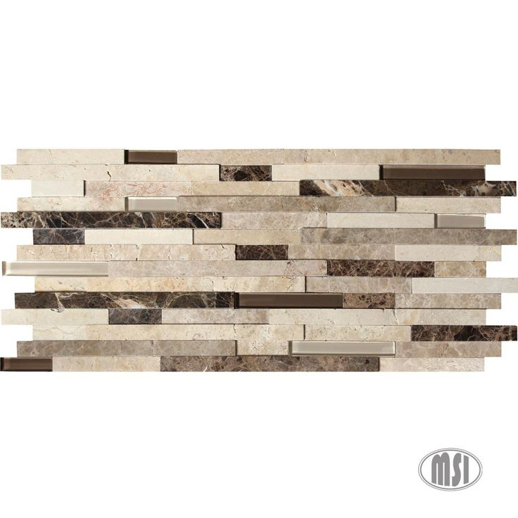 Add instant dimension to your kitchen backsplash with our new Ashlar Rock mosaic! An incredible blend of brown and beige glasses and the ever-popular Emperador Dark, Emperador Light, and Crema Marfil marbles. Added bonus: no grouting needed! #mosaicmonday #tile