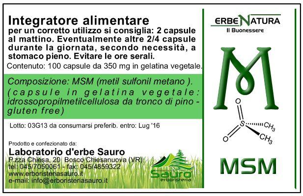 Il MSM è zolfo attivo, con proprietà preventive e terapeutiche. Per via orale ha alleviato la risposta allergica a pollini e alimenti, con risultati similari agli antistaminici. Controllo dell' iperacidità: il MSM sostituisce egregiamente i farmaci antagonisti dei recettori istaminici contro l'iperacidità; controllo della costipazione: pazienti con costipazione cronica hanno ottenuto un sollievo continuativo con una somministrazione orale di 100 fino a 500 mg di MSM al giorno.