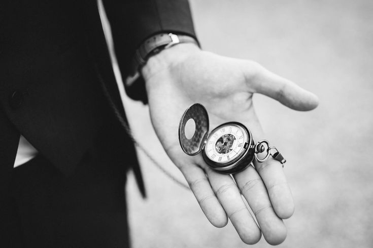A must for any groom - the best looking pocketwatch in town! Photo by Benjamin Stuart Photography #weddingphotography #pocketwatch #groom #weddingday #blackandwhite
