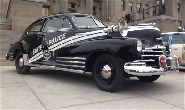 "Idaho State Police:  classic 1947 Chevrolet Fleetline patrol car that earned its nickname the ""skunk"" when Idahoans first saw its distinctive white striping on a black background."
