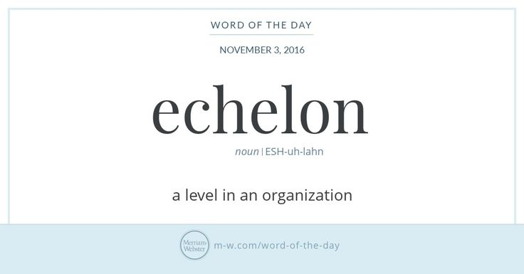 Echelon is a useful word for anyone who is climbing the ladder of success. It traces back to scala, a Late Latin word meaning 'ladder' that was the ancestor of the Old French eschelon, meaning 'rung
