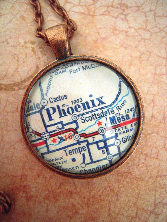 Vintage Mobile Alabama Map Pendant Necklace