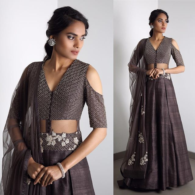 LOOK 4 - Bugle beads embroidered, ash grey lehenga✨
