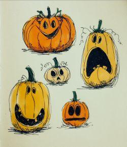 Illustration art orange My art Halloween fall doodles pumpkin artists on tumblr pumpkins jack o lantern