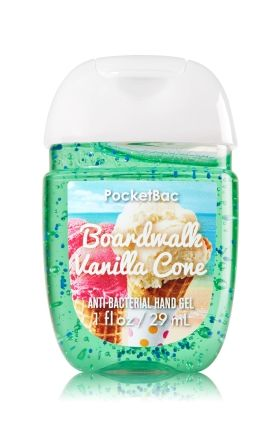 Boardwalk Vanilla Cone - PocketBac Sanitizing Hand Gel - Bath & Body Works - Now with more happy! Our NEW PocketBac is perfectly shaped for pockets & purses, making it easy to kill 99.9% of germs when you're on-the-go! New, skin-softening formula conditions with Aloe & Vitamin E to leave your hands feeling soft and clean.