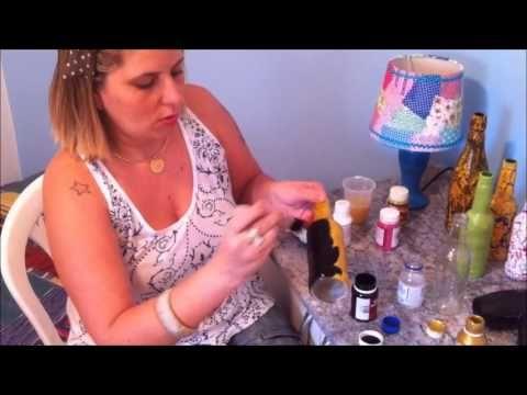 Passo a passo de como fazer craquelê em garrafas de vidro - YouTube