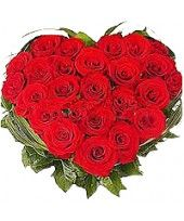 12 Red Roses in a Heart Shaped Arrangement