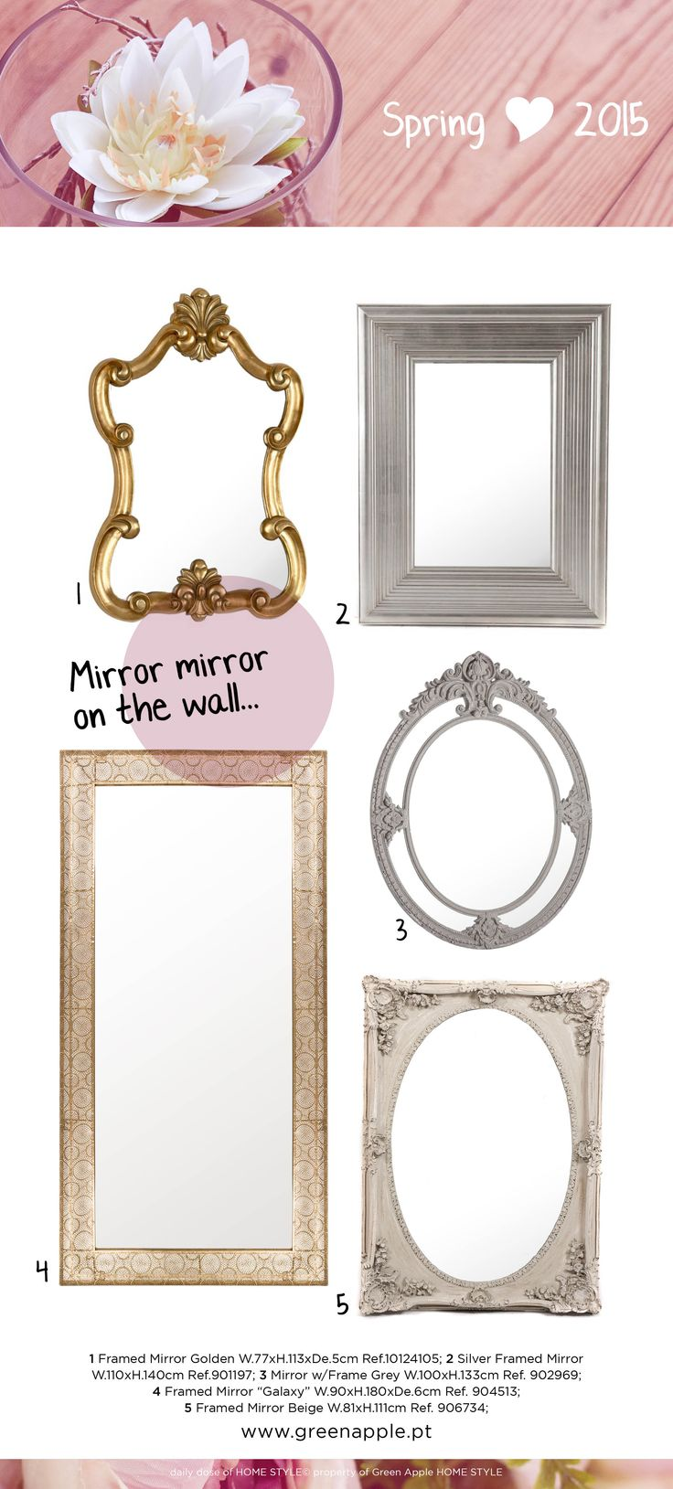 Green Apple HOME STYLE ♥ Spring 2015 #InspiringCollections #InteriorDecoration #Furniture #Portugal #Spring #Mirror #WallArt
