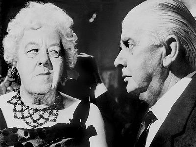 Margaret Rutherford's Miss Marple chats up Mr Stringer in Murder At The Gallop.  Mr Stringer was Margaret Rutherford's real life husband.