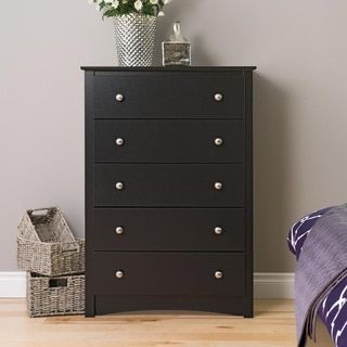 This classic chest of drawers is the perfect storage solution for any room. With a simple yet stylish design in a classic black laminate finish, this chest easily coordinates with a variety of design