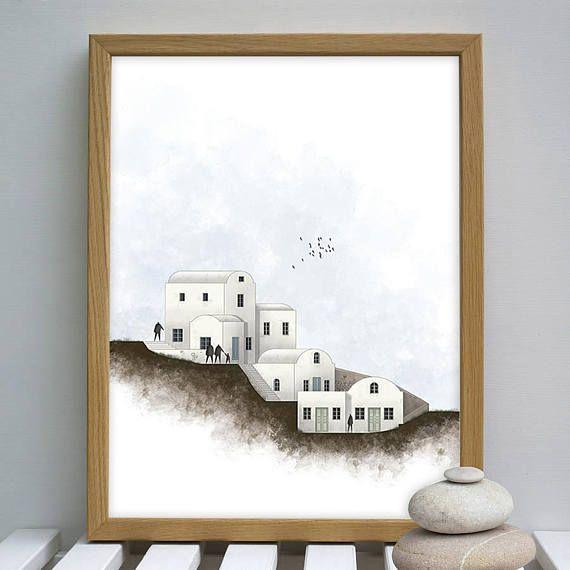 Santorini print santorini art print House portrait digital