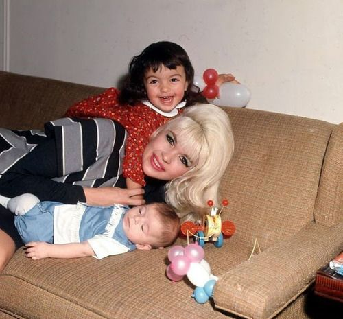 Jayne Mansfield and her daughter Mariska Hargitay and son Tony Cimber