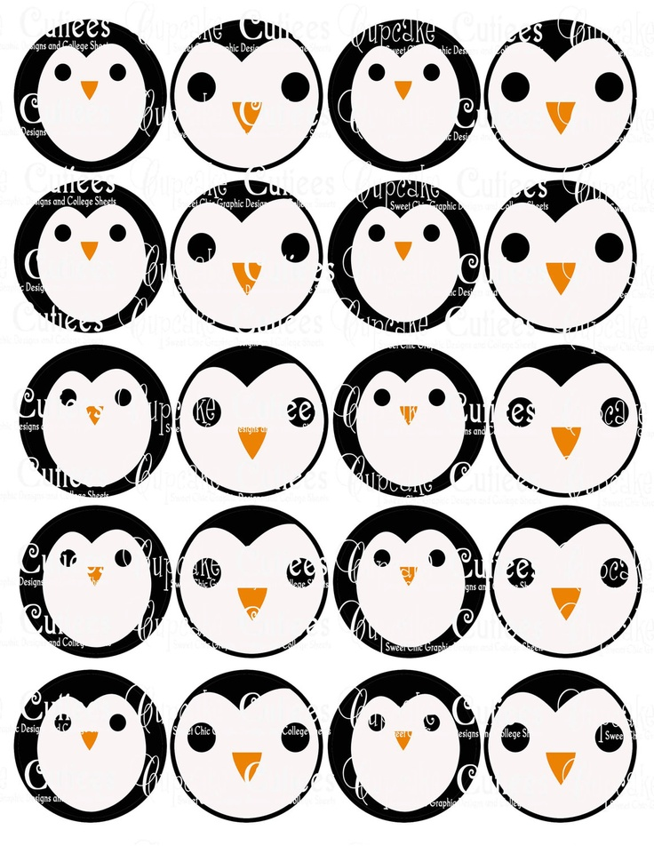Penguin Faces  Digital Collage Cupcake Toppers 2 Inch Circle Tags NO PUNCH needed PRINTABLE. $3.50, via Etsy.