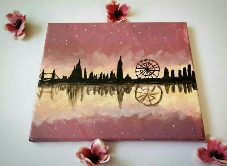 Pink Master piece London London eye siluette Flowers Acrylic  Painting Paint Yellow Art Artwork Beautiful
