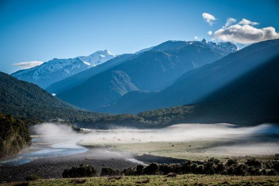 Morning mist on Cameron Flats, Makarora, New Zealand #activeadventures.com  Allan Cameron, 'Rimu', November 2013