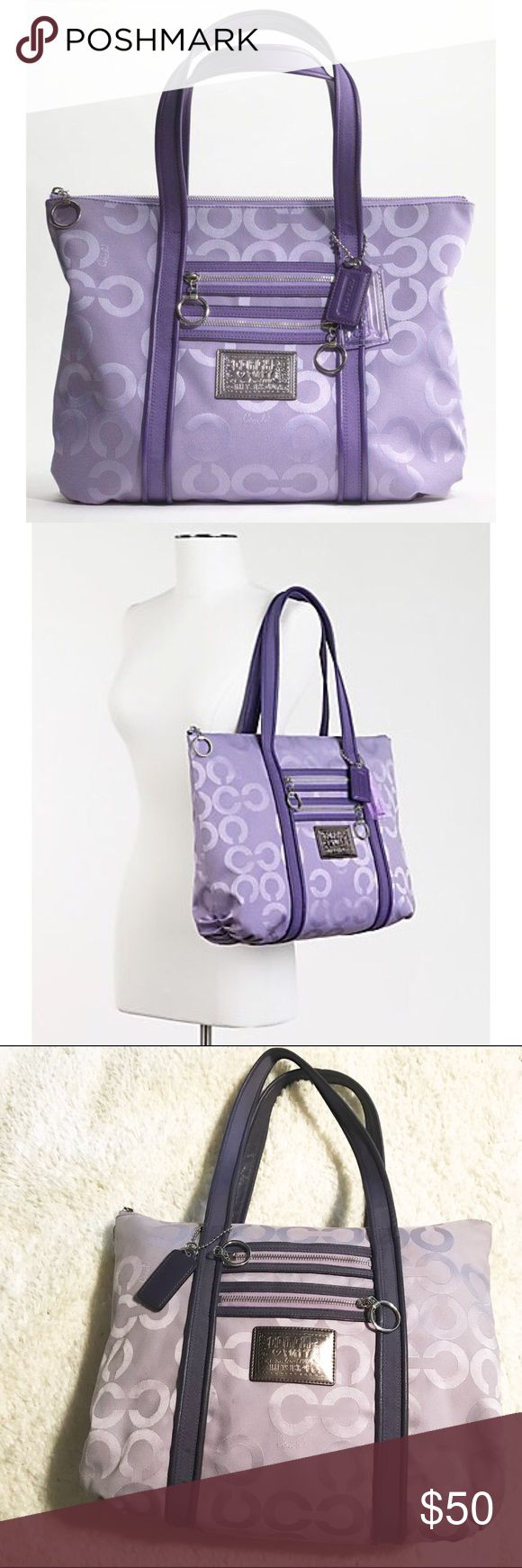 Coach Poppy OP Art Glam Tote in Lavender This is a Coach Poppy OP Art Glam Tote in Lavender. Well loved, has some yellowing, mostly in the corners as shown. A couple of discoloration marks near the logo as shown. The interior has several pen marks. Leather on handles in good condition, no wear or flaws. Very small and slight knick on Coach hang tag back corner. Feel free to ask any questions before purchasing or placing an offer. Coach Bags Totes