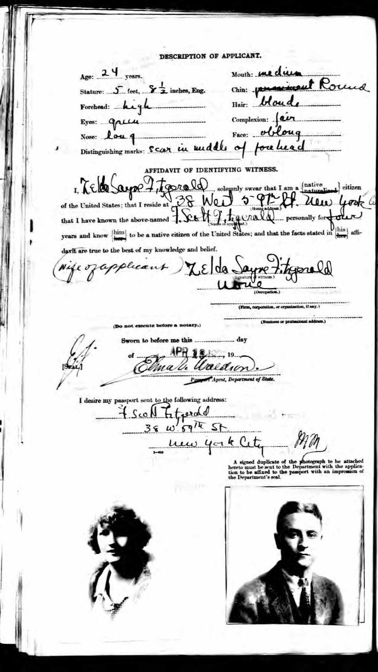 U.S. Passport Applications, 1795-1925  Name:Francis Scott Key Fitzgerald Birth Date:24 Sep 1896 Birth Place:St Paul, Minnesota Age:24 Gender:Male Passport Issue Date:16 Apr 1921 Passport Includes a Photo:Yes Residence:New York City, New York Father Name:	Edward Fitzgerald Father's Birth Location:Maryland Father's Residence:St Paul, Minnesota Spouse Name:	Ida Suyre (Zelda Sayre).  Pg 1 won't upload. ;p