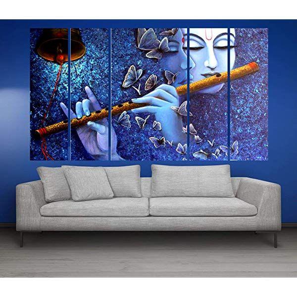 Kyara Arts Big Size Multiple Frames Beautiful Radha Krishna With Bansuri Wall Painting For Living Room Buddha Wall Painting Wall Painting Modern Art Paintings #painting #frames #for #living #room