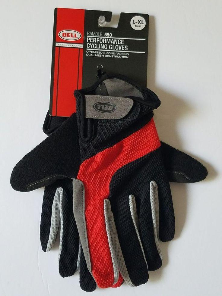 Bell Ramble 550 Performance Cycling Gloves L/XL Adult Black Red Gray NEW #Bell #Cycling #Performance #Gloves #large #XL