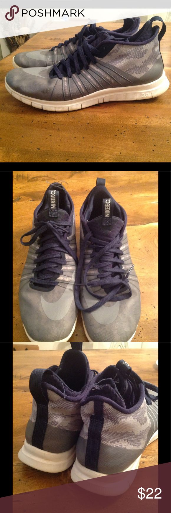 Nike Free Hypervenom 2 FC Shoes Used. Fabric tab came off on the R shoe (shown in pic 3)    Gray/Navy color.  Training/running shoe Nike Shoes Athletic Shoes