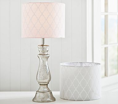 Pink Lampshade and Camilla silver lamp base  Addison Drum Shade #pbkids