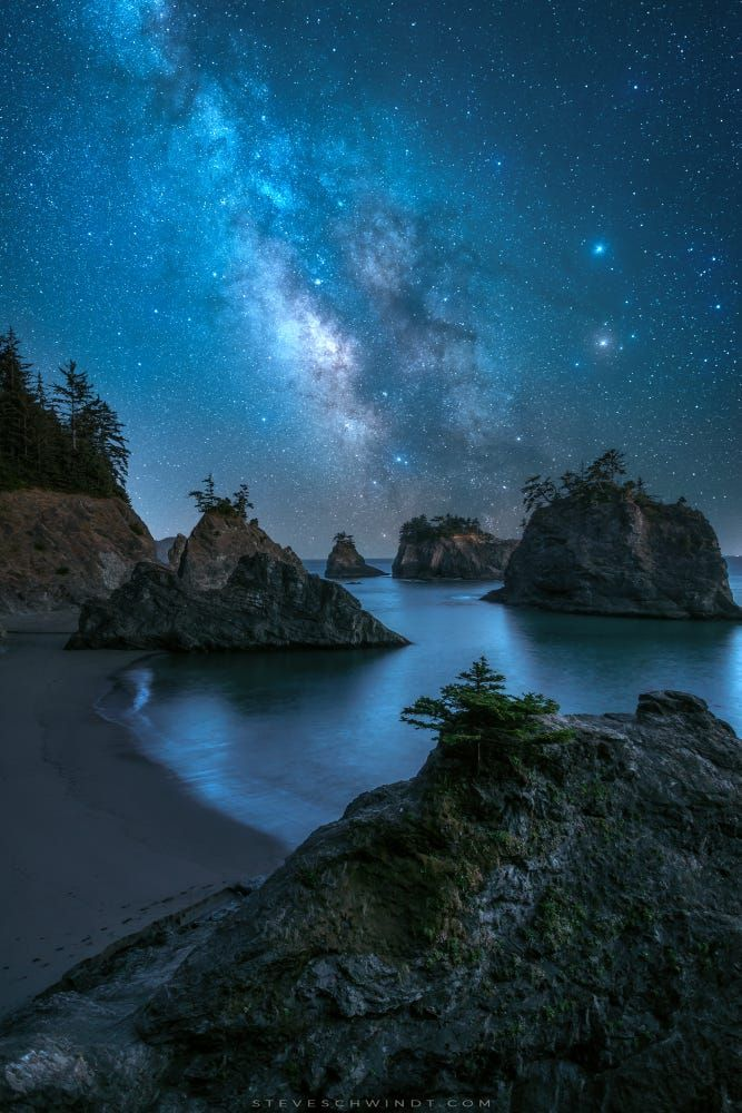 Stars of Secret Beach by Steve Schwindt..... #landscape #sea #nature #beach #night #coast #ocean #stars #landscapes #longexposure #oregon #milkyway #astro #astrophotography #bandon #secretbeach
