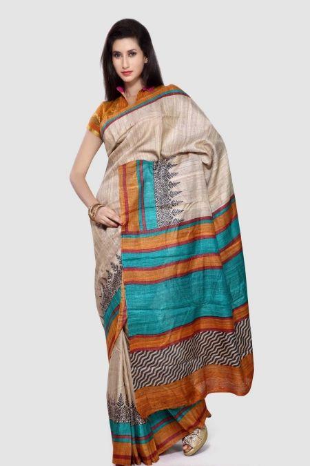 Khaki Turquoise Ghicha Tussar Silk Saree