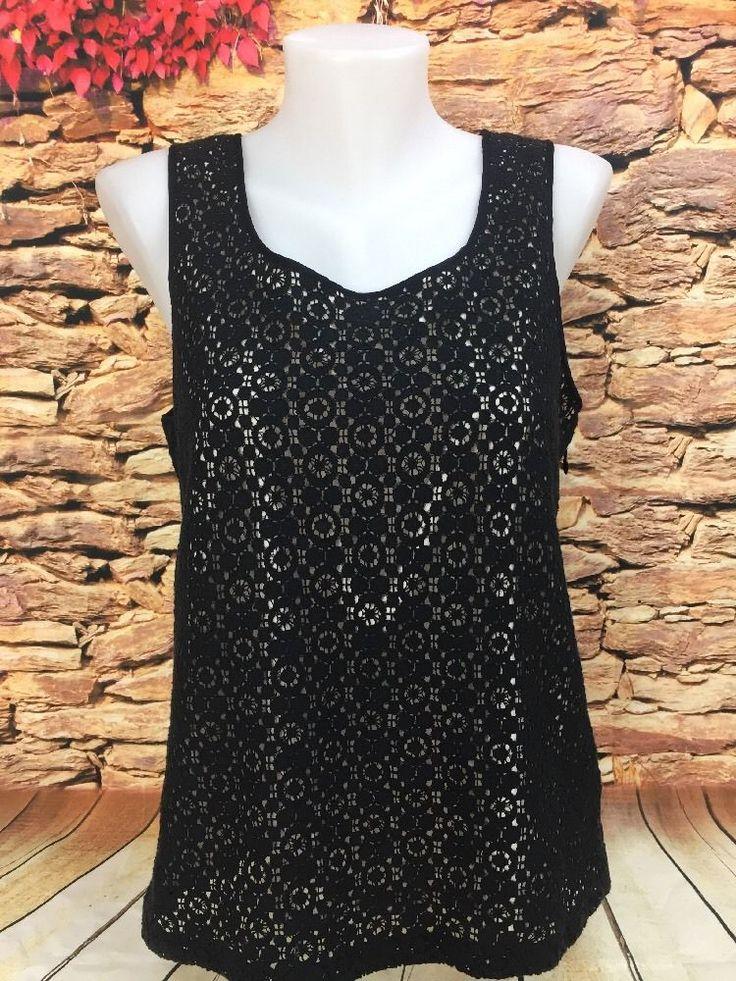 J. Crew Ladies Leslie Lace Shell Top Black Blouse Lined Tank Shirt Career Size 6 #JCrew #TankCami #Career