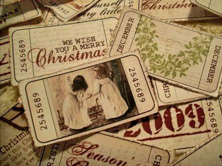 Vintage style Christmas tickets- free printable
