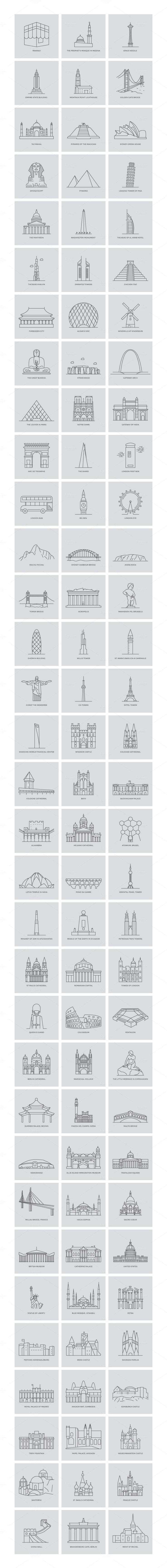 99 World Landmarks Illustration by Creative Stall on @creativemarket